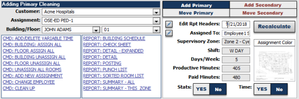 Work assignment page showing 4-way toggle to add or move a room into an assignment with options for primary and secondary cleaning task frequencies